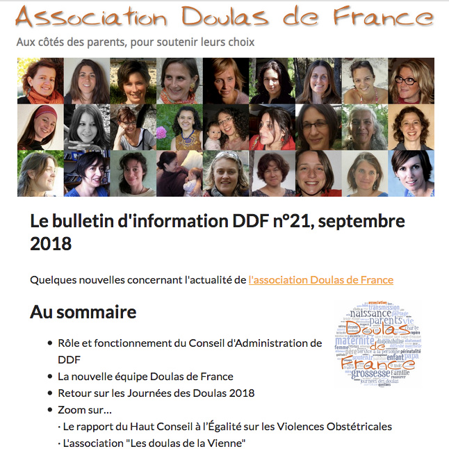 Newsletter Lettre d'information Doulas de France
